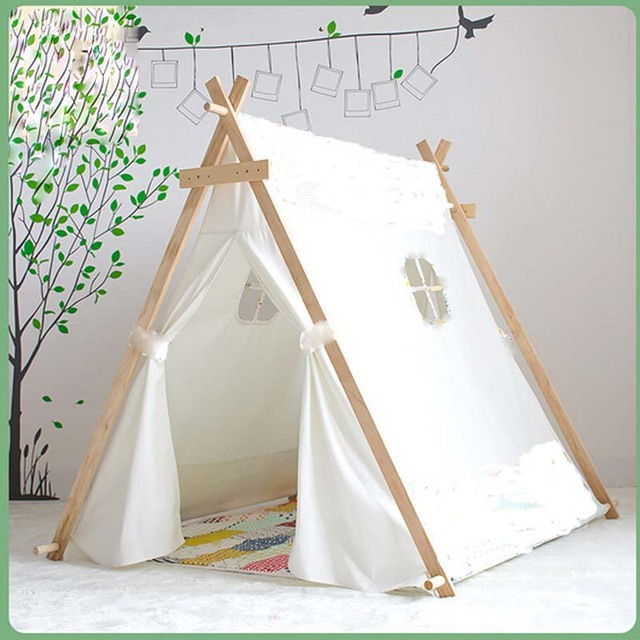 Lovely kid play tent white fabric teepee children bed tent indoor children paly house  sc 1 st  AliExpress.com & Lovely kid play tent white fabric teepee children bed tent indoor ...