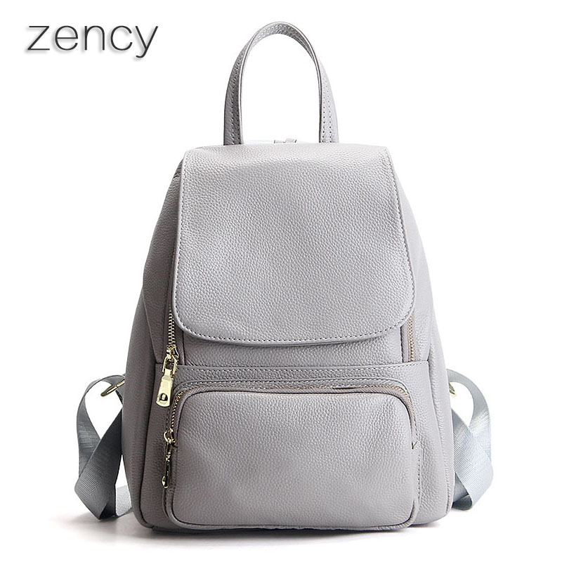 Fashion Genuine Leather Women Girl Backpack Female Bags Ladies Backpacks Real Leather School Bag Cuero Genuino Mochila zency fashion leather backpack real natural genuine leather women backpacks ladies girl school bag top layer cowhide mochila