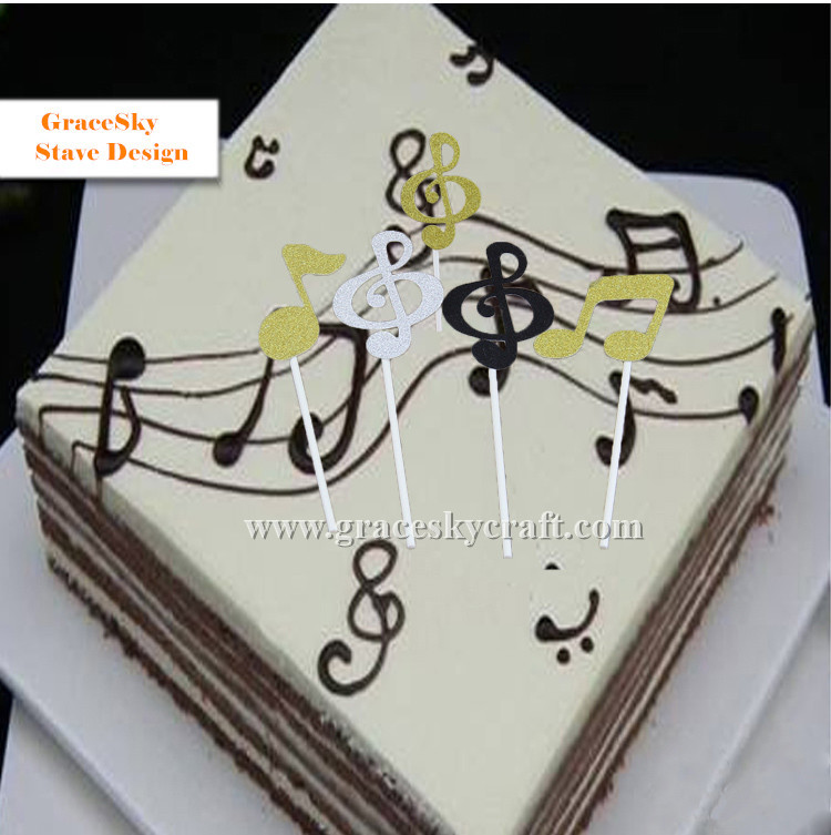 Fine 6Pcs Free Shipping Glitter Stave Musical Notation Design Wedding Funny Birthday Cards Online Aboleapandamsfinfo
