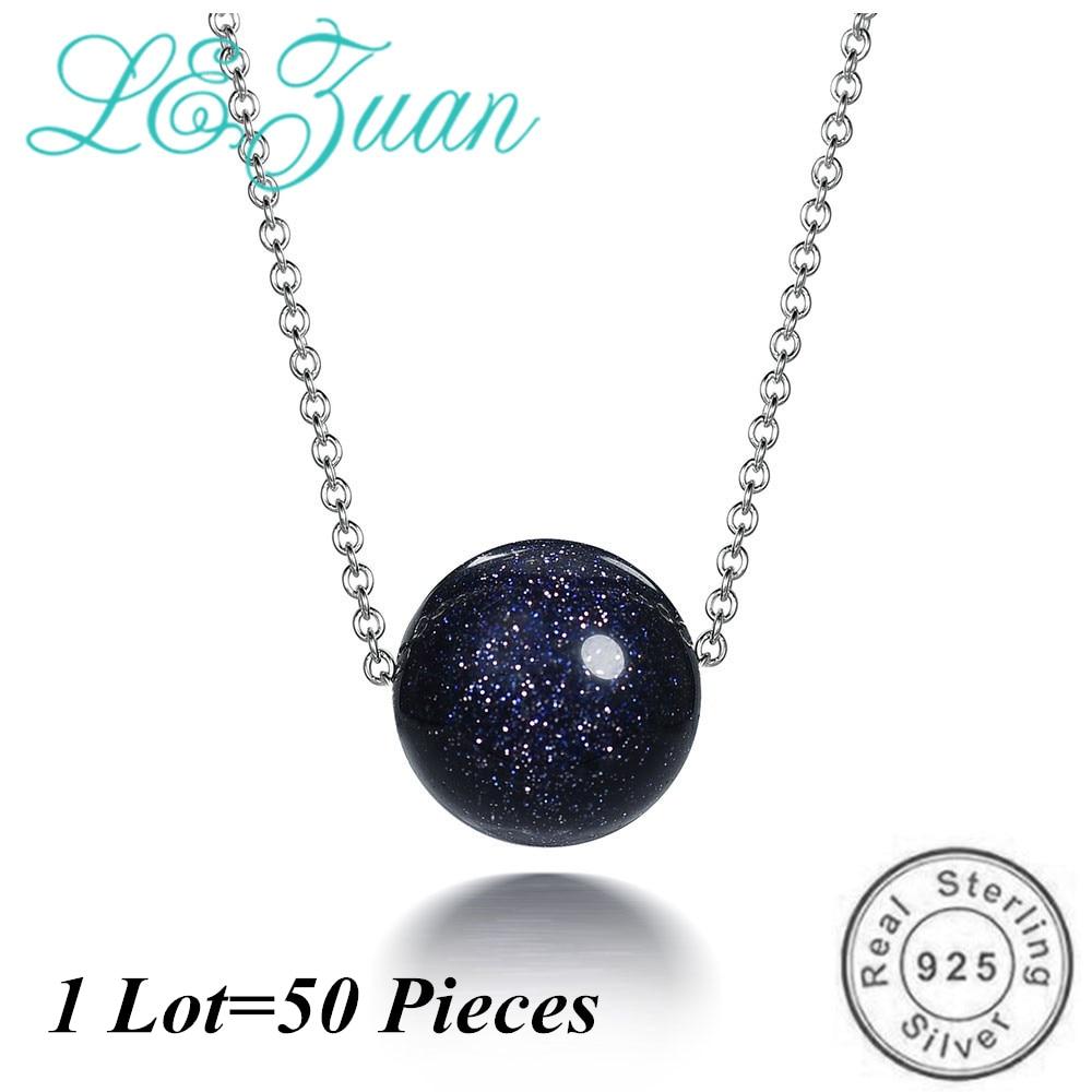 L&zuan Actual 925 Sterling Silver Pendant For Girls Germanic Darkish Blue Sandstone Choker Necklace Fantastic Jewellery 50Pcs Pack Wholesale