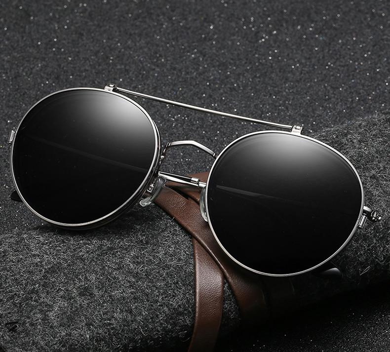 0e23df6dfcf95 JackJad Vintage Style Round Metal SteamPunk Flip Up Sunglasses POLARIZED  Clamshell Design Retro Sun Glasses Oculos De Sol 2777-in Sunglasses from  Men s ...