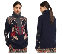 VogaIn 2016 Runway Brand NEW Luxury Women Navy Grey Embroidered Turtleneck Long Sleeved WOOL Knit sweaters