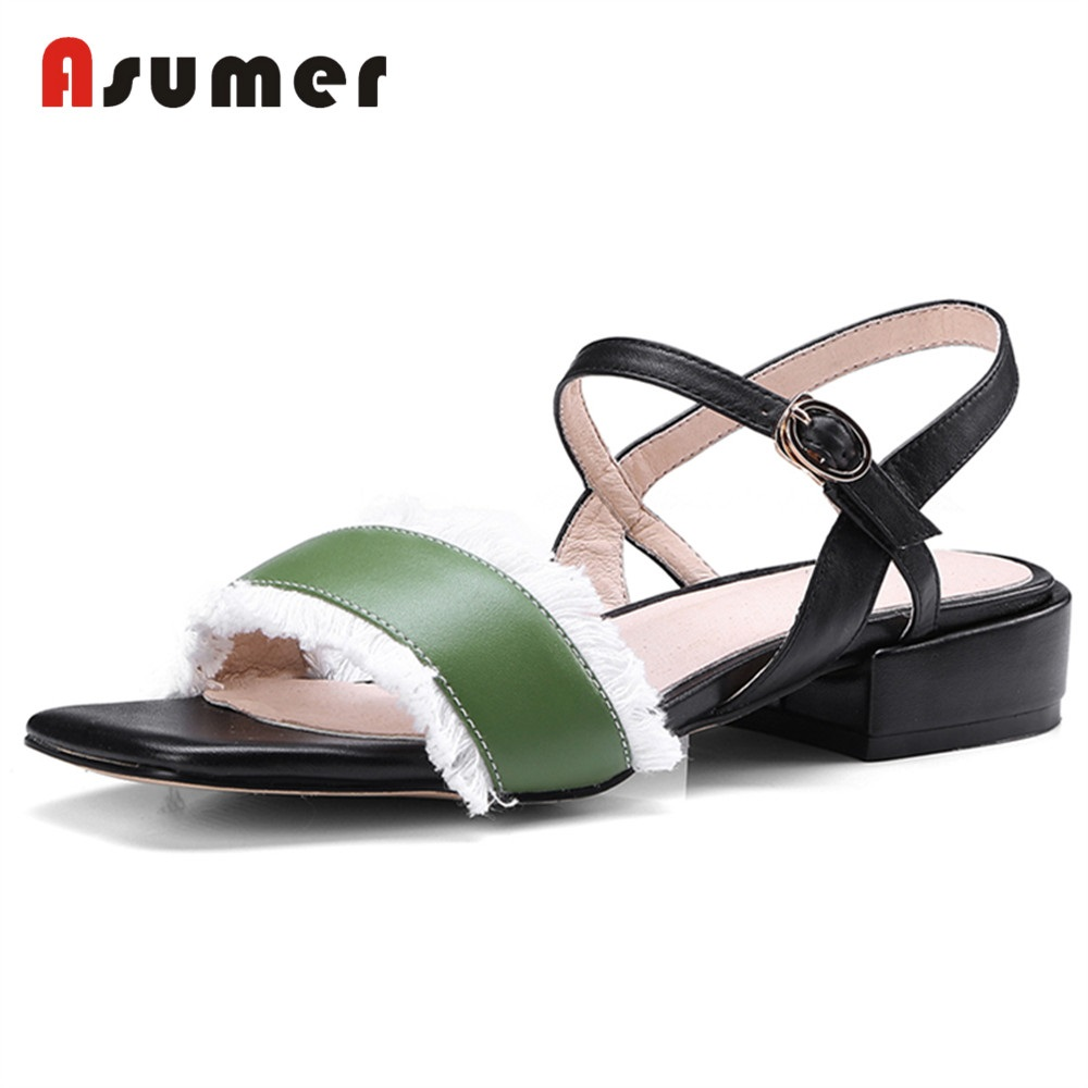 ASUMER Sandals Women Heels Tassel Casual-Shoes Square Genuine-Leather New-Fashion Med