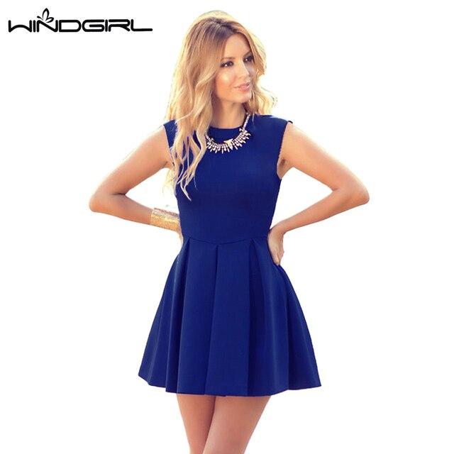 WINDGIRL синий короткое лето dress женщины бальные платья без рукавов элегантный мини платья повседневная элегантный свадебный клуб сексуальная о-образным вырезом