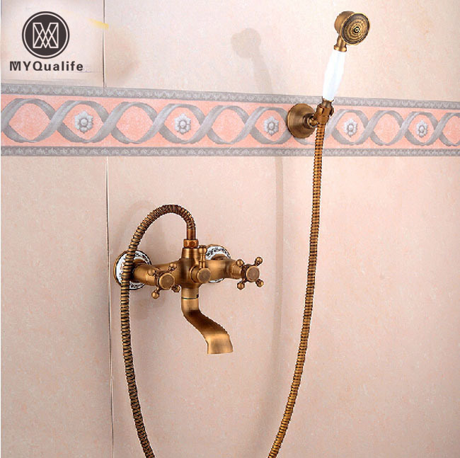 Brass Antique Wall Mount Handheld Bathtub Shower Faucet Set Dual Handles Bathroom Shower Mixer Tap