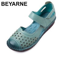 BEYARNE Women's Sandals Vintage Style Genuine Leather Handmade Ladies Shoes Summer Women Sandals 2019 New Casual Flat ShoesE130
