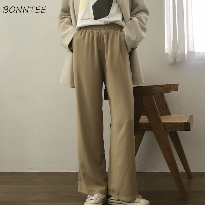 Pants   Women Chic Elegant Simple Clothing High Quality Korean Womens Capris   Wide     Leg     Pant   Outwear Elastic Leisure Ladies Trousers