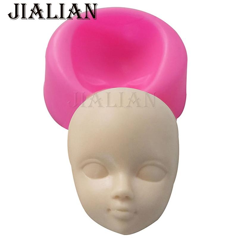 Topeng gadis comel Baby face coklat silikon acuan untuk alat menghias kek tanah liat / getah Gula-gula coklat kek hiasan gula-gula T0929