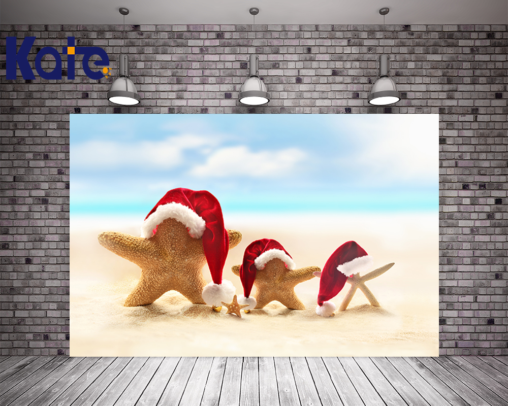 Kate Christmas Photo Studio Backdrop Beach Starfish Santa Claus Hat For Children Photography Christmas Backdrops inflatable cartoon customized advertising giant christmas inflatable santa claus for christmas outdoor decoration