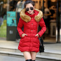 Women's winter jackets medium-long cotton winter jacket for women thick fur collar parkas Lace stitching female coats Q298