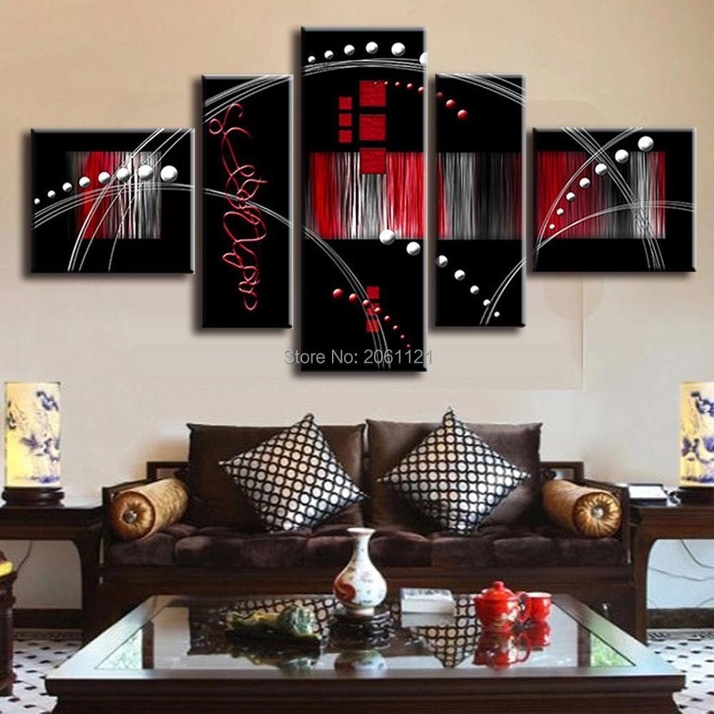 Ручная роспись абстрактные Масляные картины Красный Черный Модульная живопись групповые фотографии настенный Холст Искусство черный дива