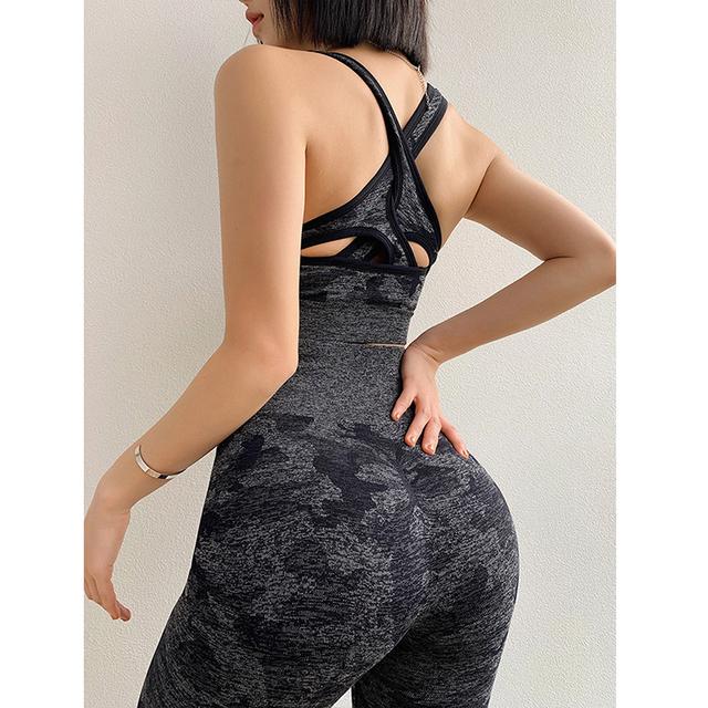 2PCS Camouflage Yoga Set with Bra and High Waist leggings