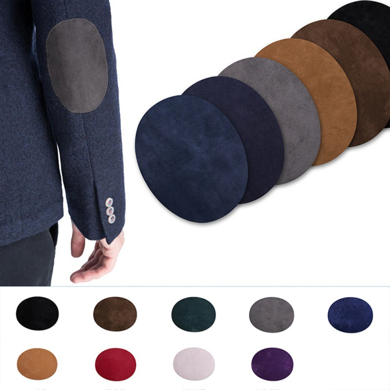 2PCS Suede Fabric Elbow Patches For Suit Jacket Sweater Oval Decoration Patches DIY Repair Patch Sewing Supplies