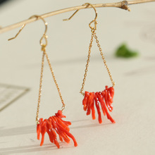 Italian designer manually jubilant 925 sterling silver needle big red coral earrings ear hook
