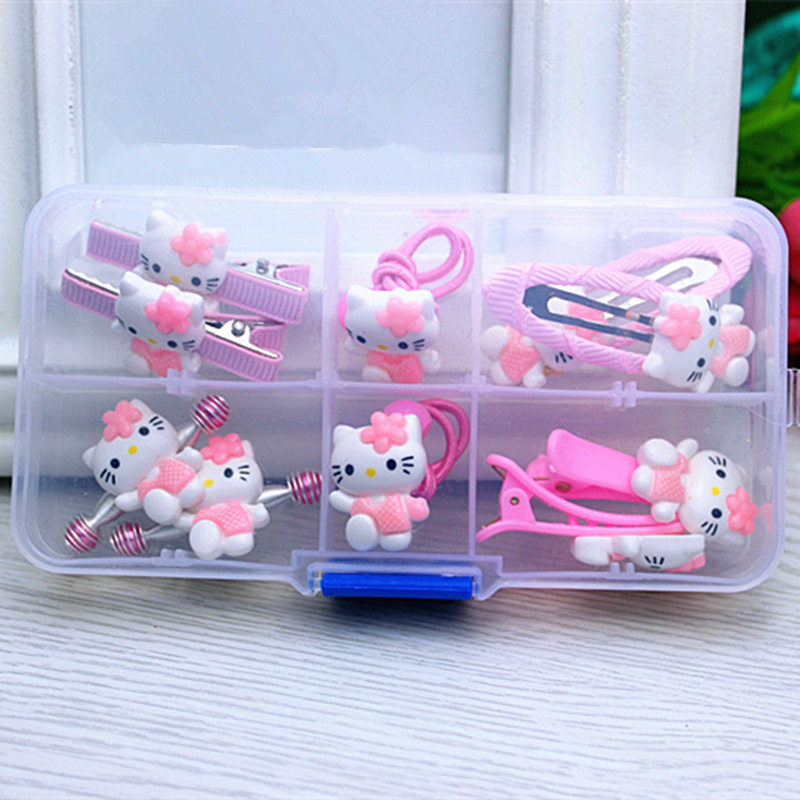 10pcs/Set Gift Box Hello Kitty Style Girl Barrettes Hair Bands Ties Accessories Child Kids Hair Clips Hairpin Hairgrip Headdress