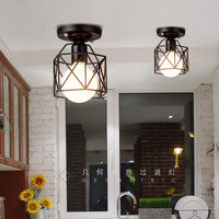 American Country Style Steel Cage Ceiling Light Corridor Ceiling Lamp Entrance Balcony Room Hall Iron Lamps