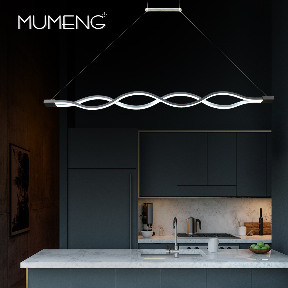 Mumeng led wave pendant light 40w newest minimalist for Suspension led cuisine