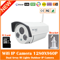 HD 960P Bullet White IP Camera Wifi 1.3mp Wireless Seurveillance Security Outdoor CMOS Infrared Night Vision Freeshipping Hot