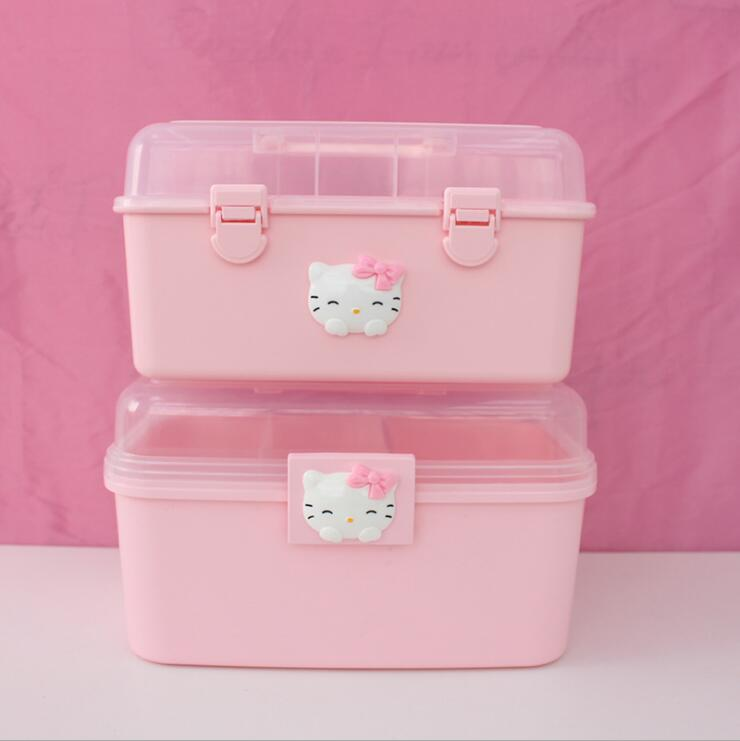 Pink Home Storage Box Medicine Box Multi-Layer First Plastic Beauty Cat Nail Box Children's Toolbox Small Medicine Box