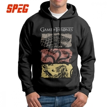 Game Of Thrones Hoodies Vintage House Stark Targaryen Lannister Mens Hooded Sweatshirts Cotton Casual Printed Tracksuit