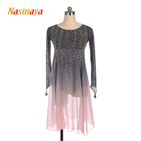 Nasinaya Figure Skating Dress Customized Competition Ice Skating Skirt for Girl Women Kids Performance Grey Gradient Pink