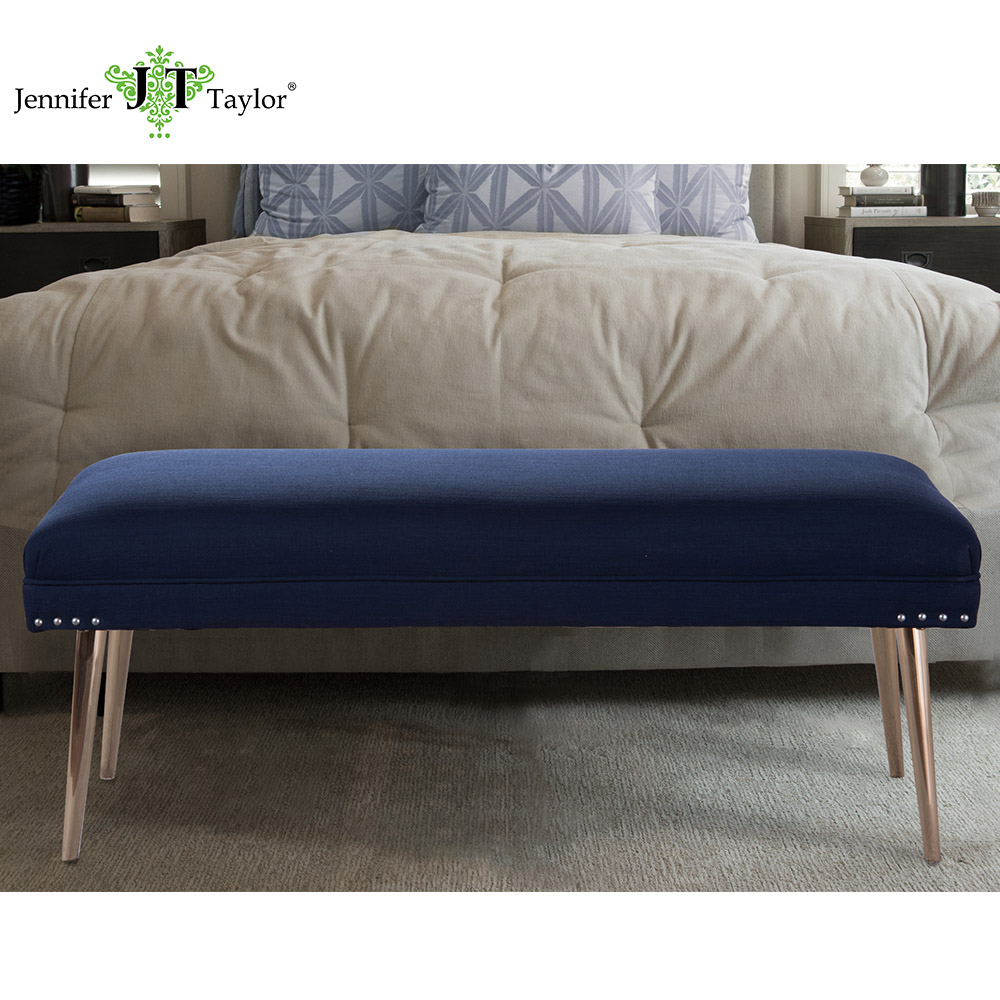 Jennifer Taylor Home, Entryway Bench, Nail head Trim, Hand Painted and Hand Rub Finished Legs, 49Wx20Dx18H, 85221 jennifer taylor home sofa bed hand tufted hand painted and hand rub finished wooden legs 65000 584 859 865