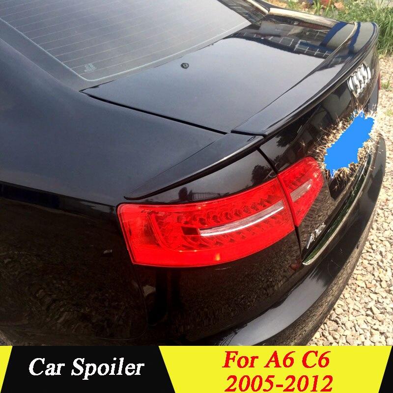 Pour Audi A6 C6 2005-2012 aileron arrière 3 pièces/ensemble PU matériau apprêt couleur voiture queue aile décoration coffre Spoiler pour AUDI A6 C6