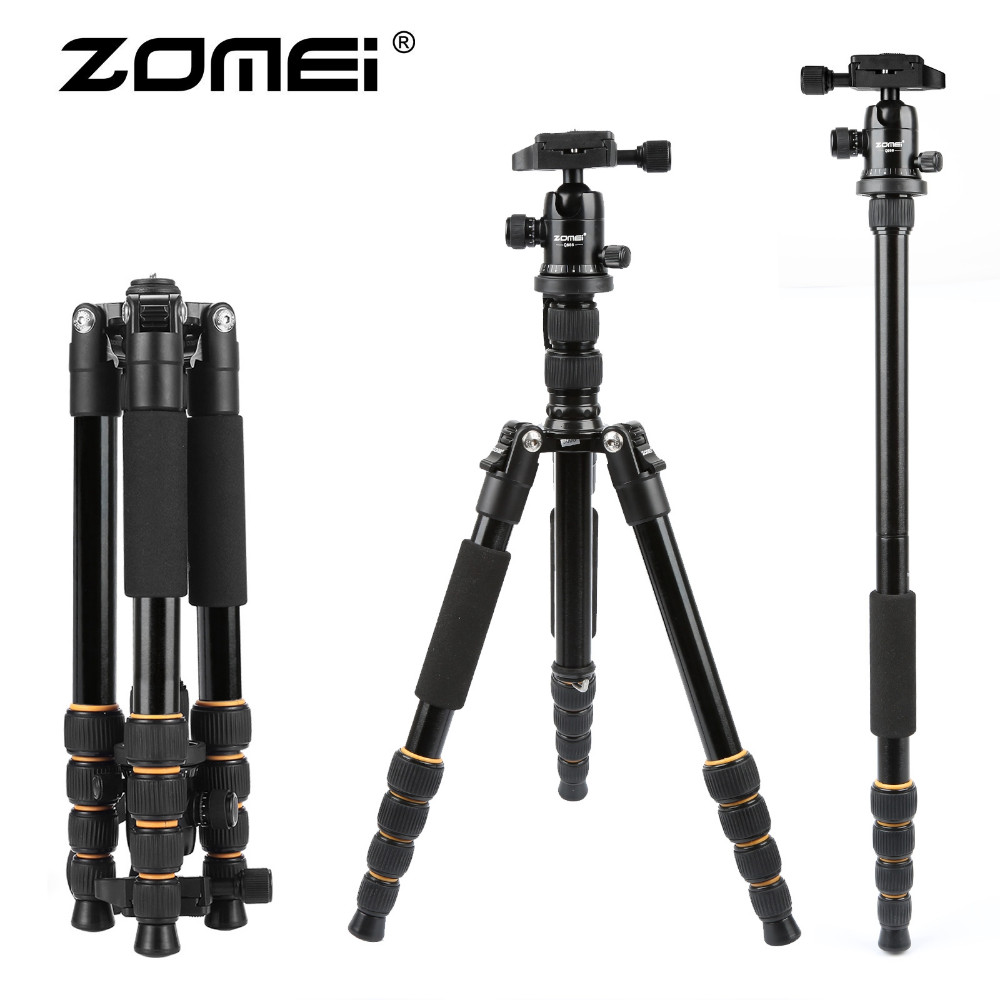 Original ZOMEI Portable Q666 Professional Travel Camera Tripod Monopod Aluminum Ball Head Compact for Digital SLR DSLR Camera zomei z688 aluminum portable tripod monopod with ball head photographic travel compact for digital slr dslr camera stand