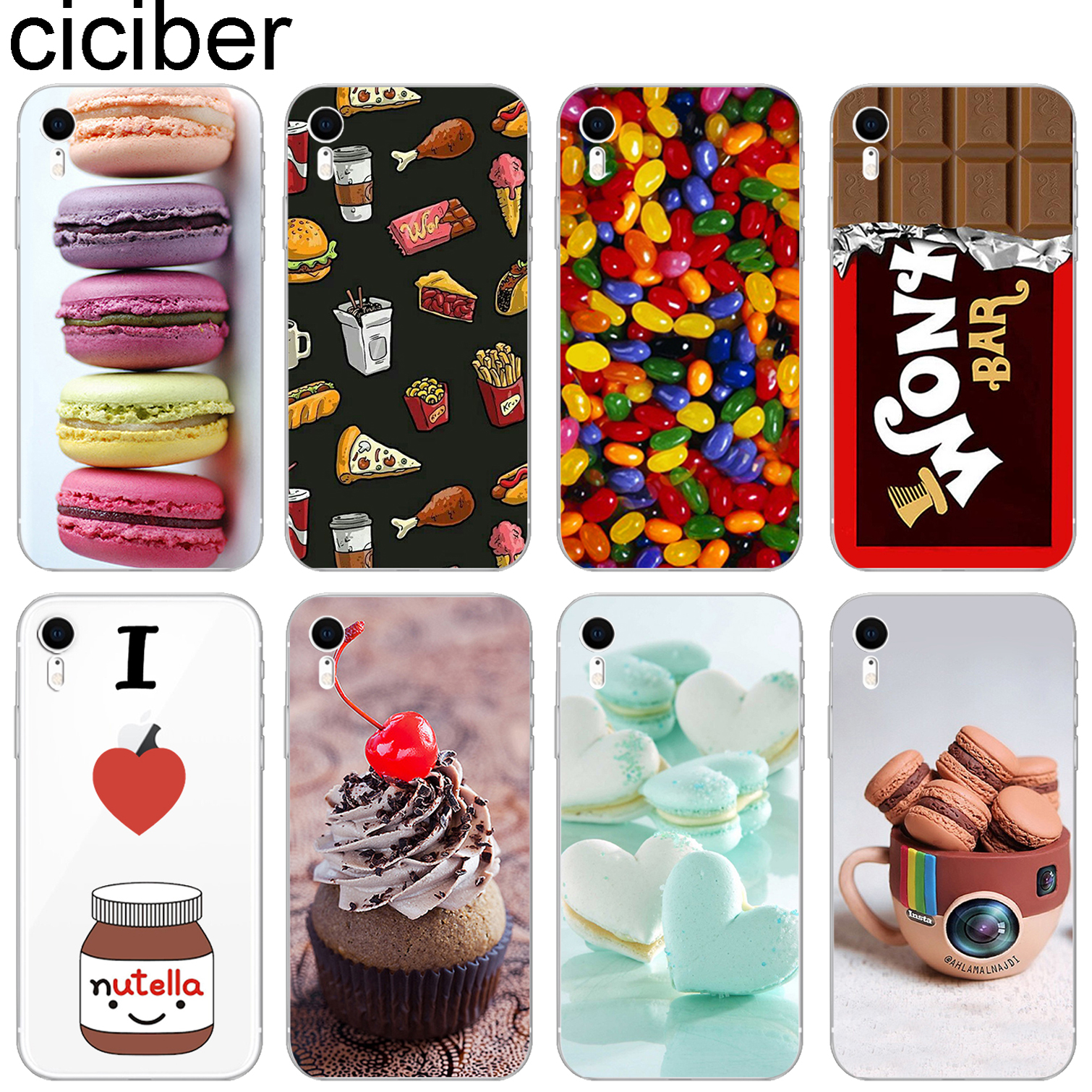 ciciber Food Pattern Design Soft Silicone Phone Cases Cover for Iphone 8 7 6 6S Plus 5S SE X XR XS MAX Coque Tumblr Nutella hand spinner harry potter