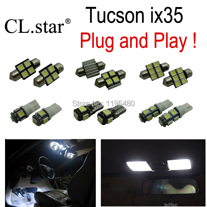 9pc x Nice quality Xenon white LED interior light kit package for Hyundai Tucson ix35 2006