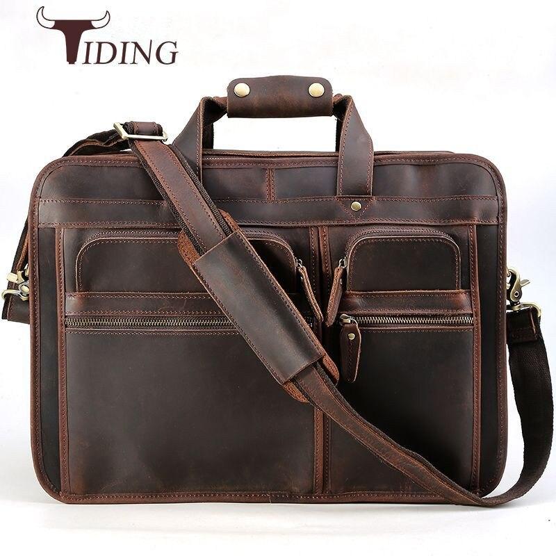 tiding Designer Luxury Handmade Leather Business Briefcase Men s 17 inch Laptop Bag Crazy Horse Skin