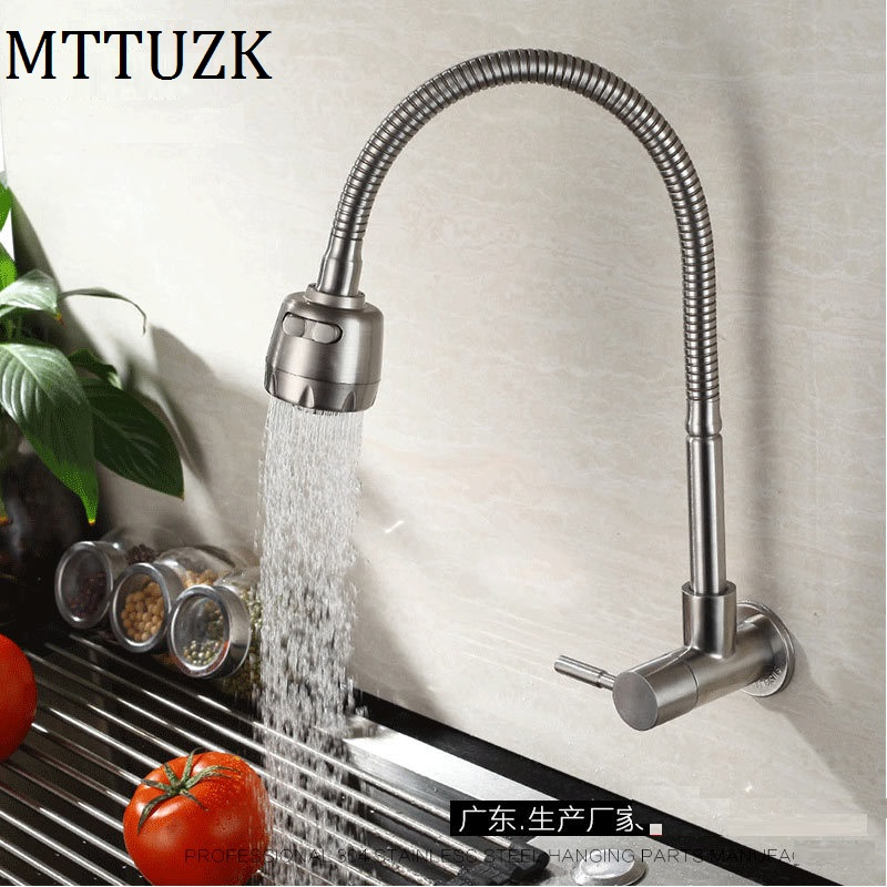 Free shipping 304 stainless steel kitchen faucet wall mounted Single cold tap Universal rotary faucet torneira cozinha de paredeFree shipping 304 stainless steel kitchen faucet wall mounted Single cold tap Universal rotary faucet torneira cozinha de parede