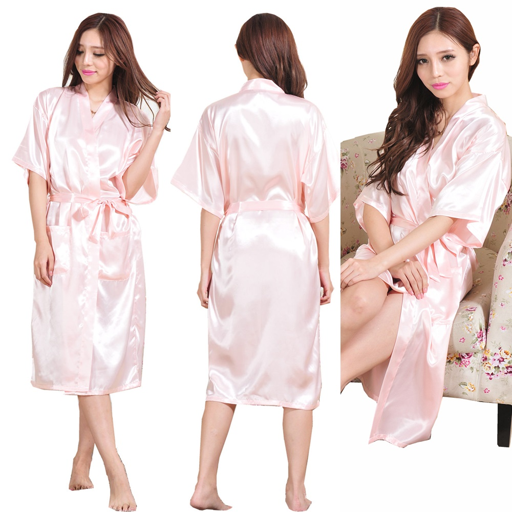 Fashion Women S Solid Silk Kimono Robe For Bridesmaids Wedding Party Night Gowns Bride Robes Bridal Pajamas In From Clothing