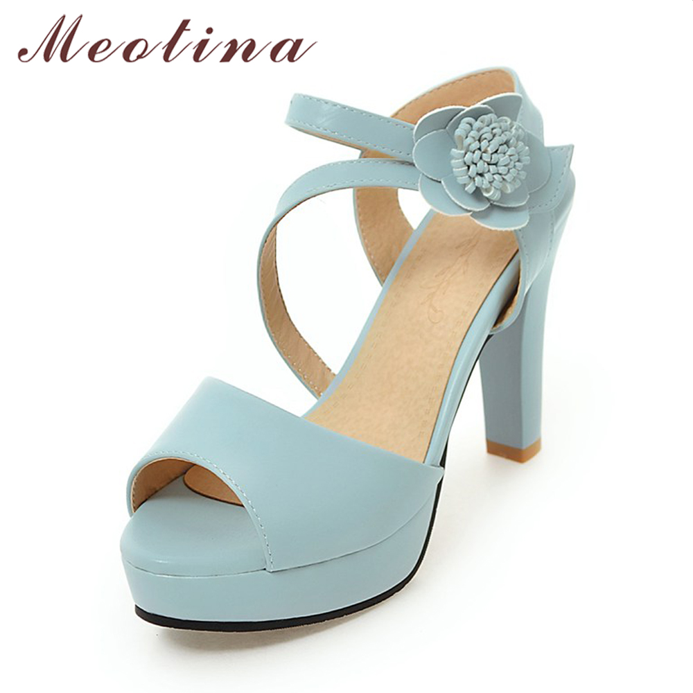 Meotina Women Sandals Summer Platform Sandals High Heel Sandals Flower Party Shoe Bridal Wedding Pumps White Pink Big Size 9 10