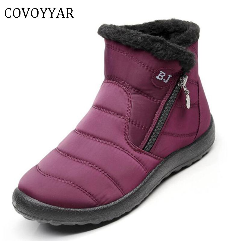 COVOYYAR 2018 Women Snow Boots Ankle Warm Fur Waterproof Winter Shoes Woman Big Size 35-43 Cold Weather Flat Casual Shoes WBS446 winter 2016 womens boots big size handmade rhinestone studded flat shoes woman platform faux fur snow boots casual ankle booties