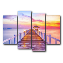 Abstract Wall Artwork Sunshine Seaside Birdge Wedding Decor Vintage Canvas Oil Painting for Living Room Home Decoration No Frame