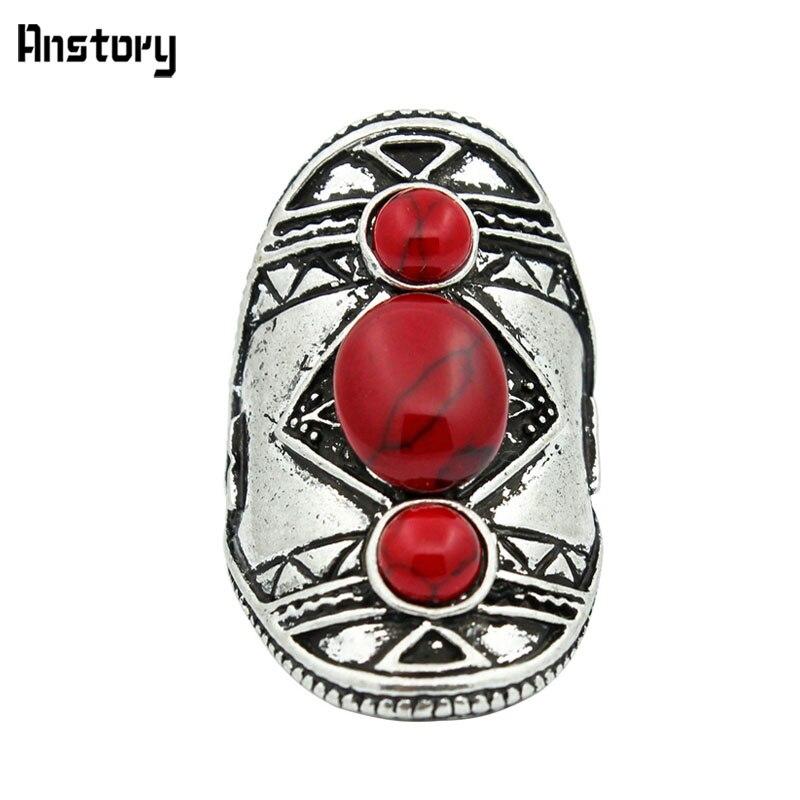Винтаж три красных Камни кольцо для Для женщин Античная Посеребренная Модные украшения TR478|Кольца|   | АлиЭкспресс
