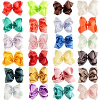 24pcs/set 5 Double Stacked Hair Bows Colorful Solid Grosgrain Hairbow With Alligator Clip For Kids Girls Hair Accessories