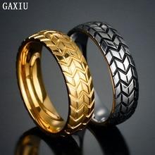 Фотография GAXIU 2017 Titanium Steel Couple Ring Titanium Steel Gold / Silver Ring & 3D Carved Tire Ring Men & Women Couples Ring R 007