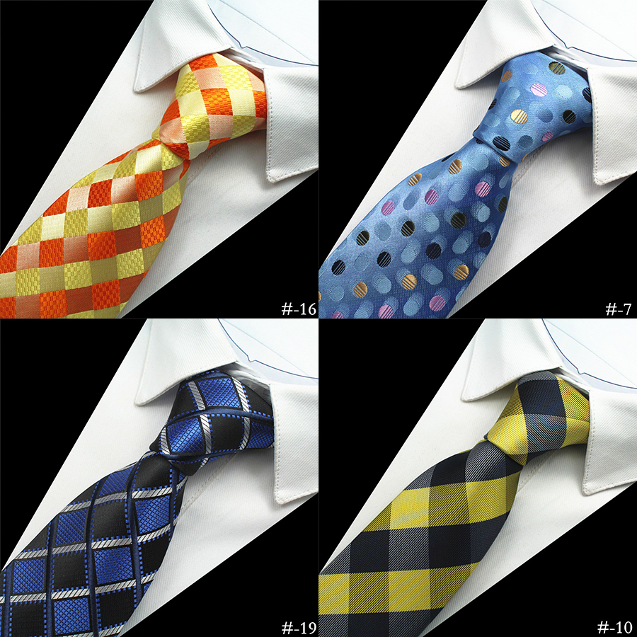 GUSLESON New Design Quality 100% Silk Mens Tie 8cm Plaid&Striped Neck Ties For Men Classic Wear Business Wedding Party Gravatas