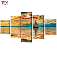 WEEN HD Printed Sailing Boat Picture Stretched And Framed 5 Piece Landscape Wall Canvas Art For