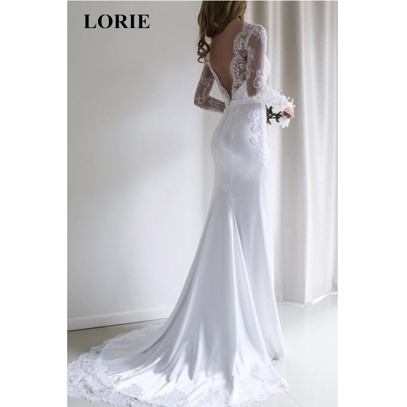 Mermaid Wedding dress 2019 Chiffon and Satin and Lace Long sleeve Wedding Dress with Belts Brush Train vestido de noiva