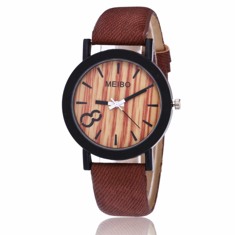 2018 Venta caliente relojes de modelado de cuarzo de madera para hombre reloj Casual de cuero de Color de madera para mujer reloj de pulsera al por mayor P40