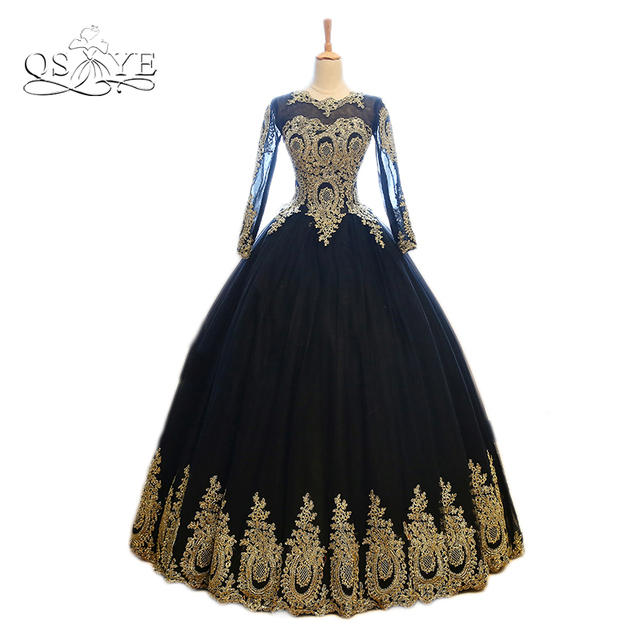 671ed1fd082b Vintage Black Long Prom Dresses 2018 Robe de Soiree Real Photo Gold Lace  Tulle Long Sleeves Formal Evening Dress Party Gown
