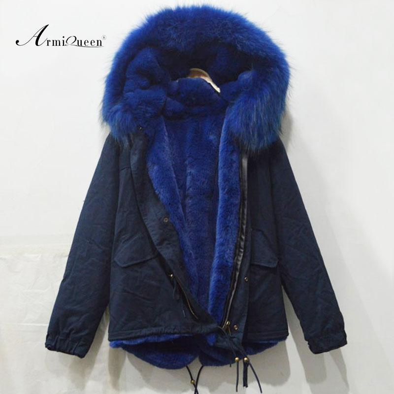 Dark Blue Short winter style long sleeve big raccoon fur collar fur parka man
