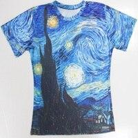 Chine Gros Bleu 3D Conception Impression Art Peinture Manches Courtes En Coton T shirt