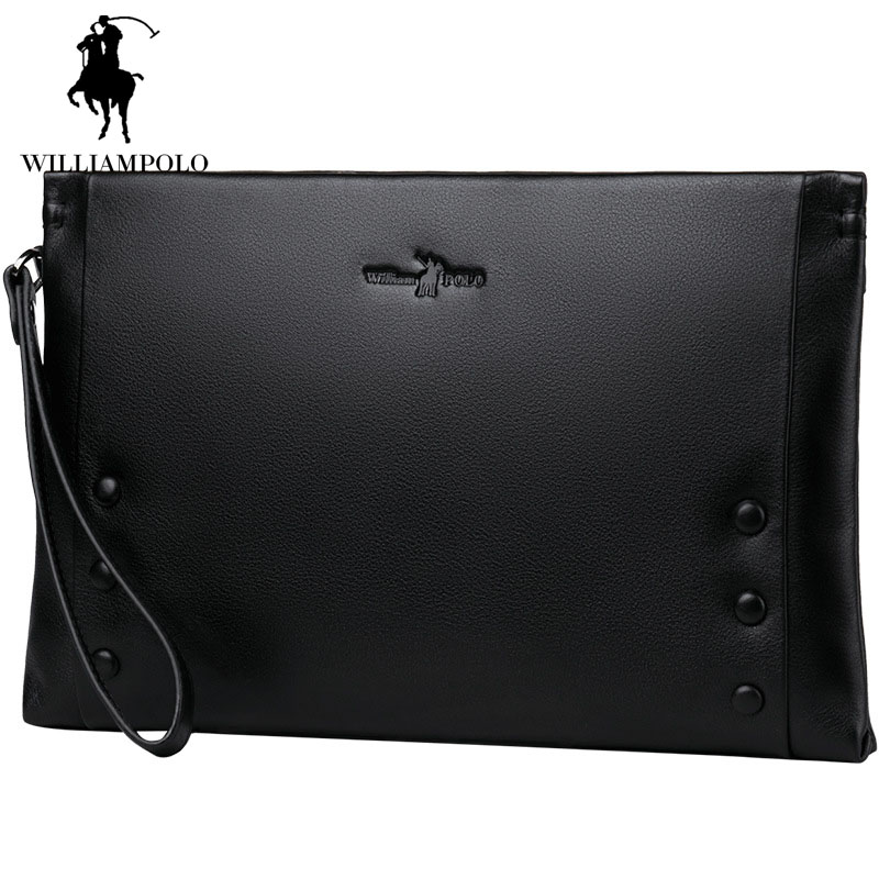цена на Black Large Capacity Handbag Envelope Wallet for Men IPAD Clutch Bag Mens Genuine Soft Leather Wallet With Zipper Bags EA0306