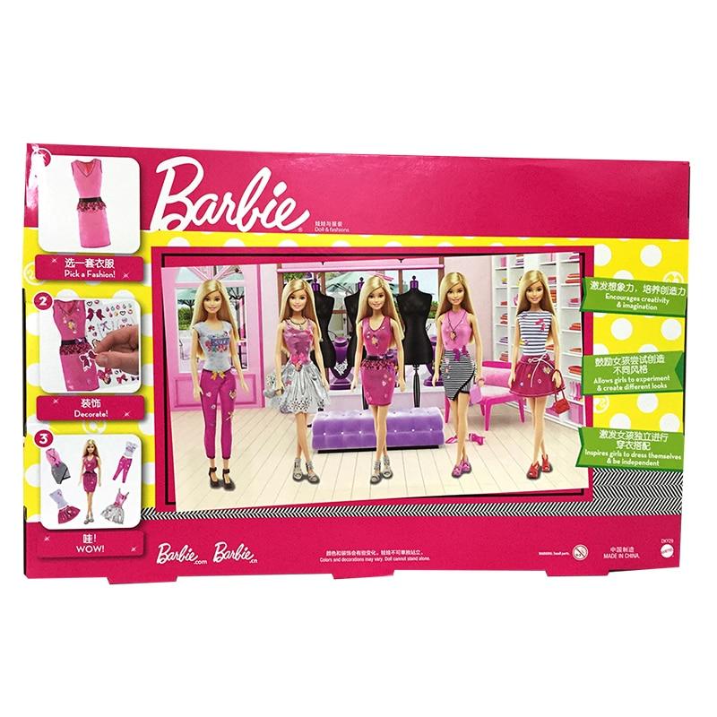 Girl Fashion Barbie Creative Designer Diy Doll Clothes Playset American To Princess Dress Set Bonecas Doll Baby Toys Dky29 Dolls Aliexpress