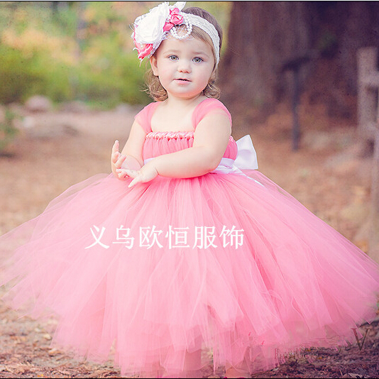 BABY WOW Pink Flower Girl Dresses for Weddings Long Train Baby Girl ...