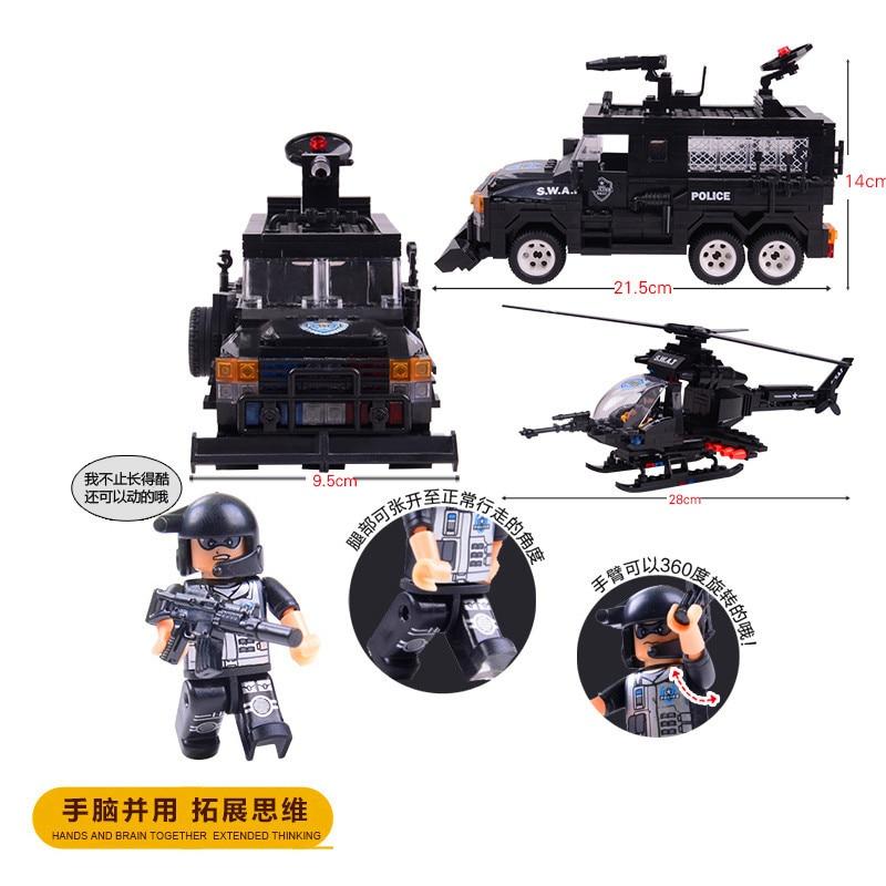716 piezas bloques educativos de construcción para niños juguete Compatible Legoingly city SWAT Apache Tigers riot squad DIY figuras de ladrillo-in Bloques from Juguetes y pasatiempos    3